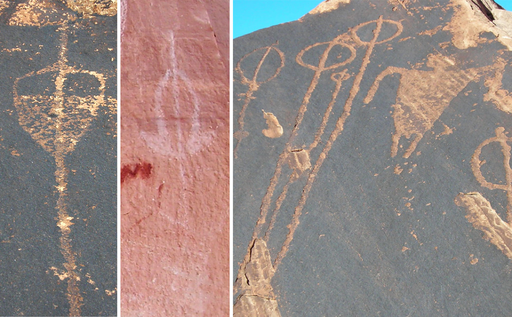 Figure 4. Depictions of atlatl darts in rock art in San Juan County, Utah. Left) an interior design that may depict the coloration of golden eagle tail feathers. Middle) a dart painted in white with tufts depicted in front of the fletches. Right) typical depictions of darts, with fletches indicated by simple circles. Photos by Chuck LaRue.