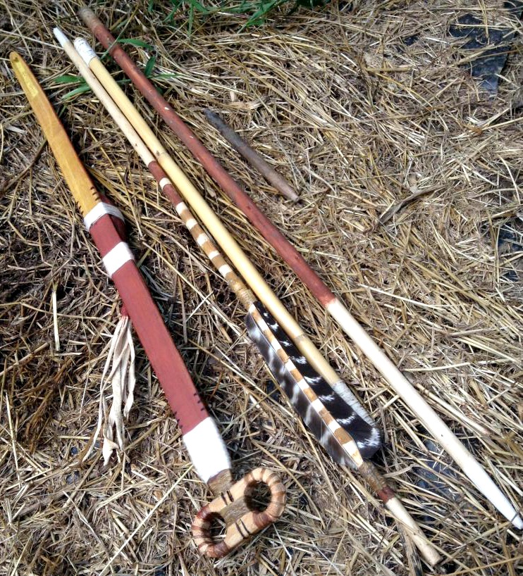A new atlatl and takedown dart by the author, with reed midshaft, and willow hind and foreshafts
