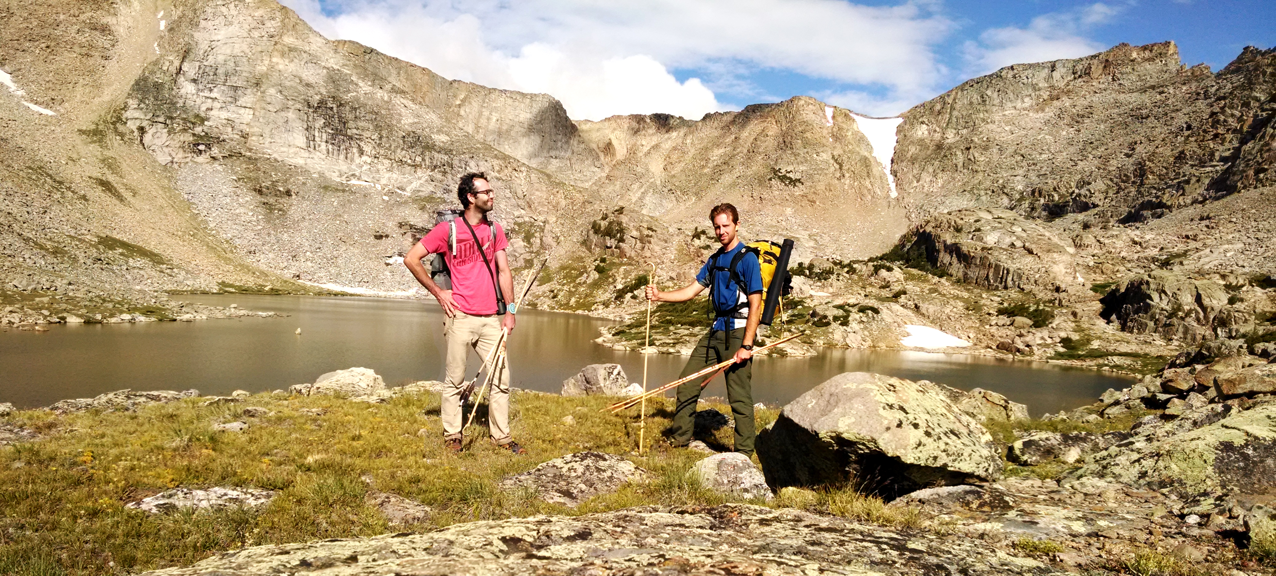 Garnett and Pettigrew backpacking with takedown darts in Wyoming